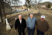 Subdivision project manager Bob Finley (left) made room for the old Herndon family cemetery in a McKinney subdivision, pleasing Herndon descendants Jim Bundy (center) and Jack Stinnett.
