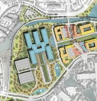 Pioneer Natural Resources new headquarters would be in the blue buildings just west of the planned Hidden Ridge town center and DART rail station. (Gensler)