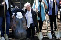 Don Glendenning took part in Friday's groundbreaking for the Simmons Hippo Outpost at the Dallas Zoo. (Rose Baca/Staff Photographer)