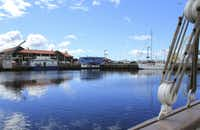 A view from one of the sailboats docked at Franklin Wharf, overlooking Sullivan's Cove, in downtown Hobart, Tasmania.