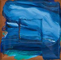 "Howard Hodgkin's ""Deja Vu, Deja Blue"" (2004, oil on wood) knocks you back with muscular swaths of color."