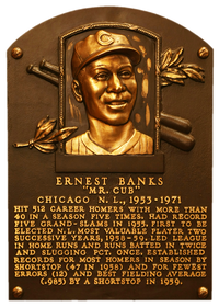 Ernie Banks' plaque at the Baseball Hall of Fame in Cooperstown, N.Y.