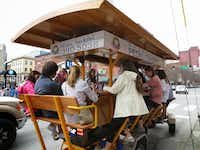Pedal taverns are bars-on-wheels that are completely people-powered; at least eight passengers need to pedal to keep them moving.(Robin Soslow -  Robin Soslow )