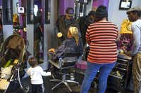 Tearra Peace and her son visited Ooh La La Hair Spa in Deep Ellum, where Brandon Lee styled her hair.