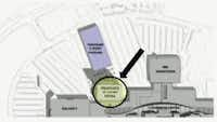 This map shows the proposed footprint for the Hyatt Regency hotel that will connect to the northwest side of the Stonebriar Centre mall. The circled area is the hotel. The rectangle above that is the proposed parking garage. (Courtesy city of Frisco)