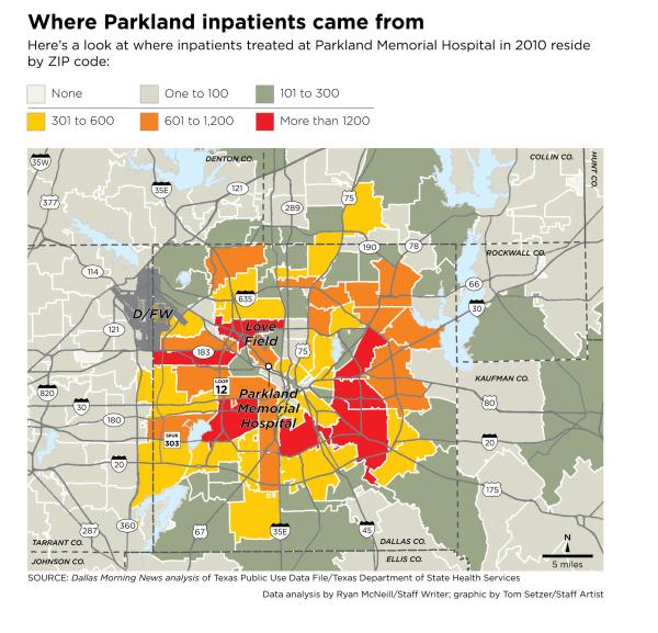 Dallas Hospitals Map on