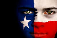Portrait of a boy with the flag of Texas