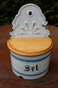 Vintage enamel salt cellar for the Texas kitchen( Audrey Feldman )