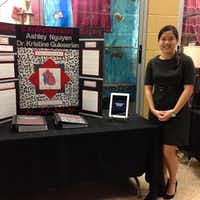 Ashley Nguyen shows off her research at Final Presentation Night 2013. At the year-end each student also gives a 35 to 40 minute presentation.(Photo submitted by BRIAN WYSONG)