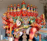 A nine-headed statue greets visitors to Chennai's Parthasarathy Temple, one of the oldest structures in Chennai.( Thomas Huang  -  DMN Staff )