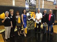 Irving Schools Foundation supporters attend an Irving High Pep Rally celebrating the success of the school's seniors.( Photo by DEBORAH FLECK )