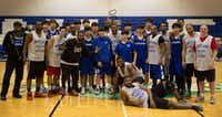 A group shot of Yonsei University and former North Lake College basketball players. (Photo by Jarvis Jacobs)