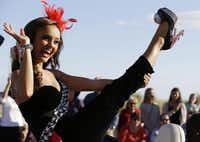 Miss Alabama Chandler Champion showed off her footwear during the annual shoe parade.File 2013  -  The Associated Press