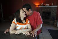 Jessica Morales and her husband, Danny Morales, in their home in Midland, Texas.