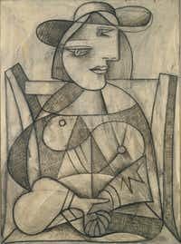 Pablo Picasso, Woman with Joined Hands (Marie-Thérèse), January 8, 1938, pencil, charcoal and oil wash  on canvas, Collection of Janine and J. Tomilson Hill. © 2013 Estate of Pablo Picasso / Artists Rights  Society (ARS), New York