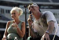 Josh and Katie Hamilton speak to fans about Hamilton's struggles with drug abuse and his Christian faith afteragame in Arlington, Texas, Sunday, June 1, 2008. (DMN file photo)