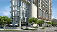 The 15-story apartment tower is planned at Carlisle and Vine streets in Uptown. (GDA)