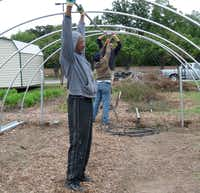 Ken Smith (front), president of the Revitalize South Dallas Coalition, works with volunteers to construct a community garden on Elam Road in Pleasant Grove.