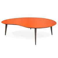 Jonathan Adler's glossy lacquered orange or white kidney tabletop has walnut legs. It is among the inventory at the new Adler shop opening May 4 in Knox-Henderson neighborhood.