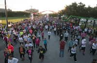 The scene at the starting line near NorthPark Center for 31st Komen Dallas Race for the Cure.