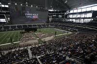 Chris Kyle is honored during a memorial service at Cowboys Stadium in Arlington on February 11, 2013.
