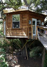 The Majestic Oak Treehouse at Savannah Meadows, an eco-tourism lavender farm in Celeste, can be booked for overnight stays.(Sonya Hebert-Schwartz - Staff Photographer)