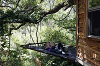 Owner Mike Snyder reads a book to his daughter, Savannah Snyder while relaxing on a platform off the Majestic Oak Treehouse at Savannah Meadows, an eco-tourism lavender farm.(Sonya Hebert-Schwartz - Staff Photographer)