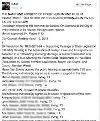 Part of a long list posted on the group's Facebook page. The Morning News has blurred names and addresses out of caution.