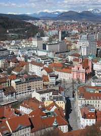 Framed by the Kamnik Alps, Ljubljana, viewed here from its castle, gives Slovenia one of Europe's most charming capitals.