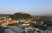 Ljubljana Castle stands above the city skyline in Ljubljana, Slovenia.