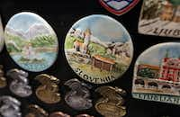 Slovenia branded fridge magnets sit for sale in a tourist store in Ljubljana, Slovenia.