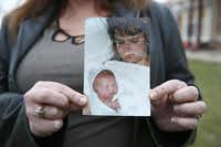 """This is my first son,"" Allison Gooch said, holding the photo returned to her by Tutt. Gooch saw her picture after someone shared the link on Facebook.(Rose Baca - Staff Photographer)"