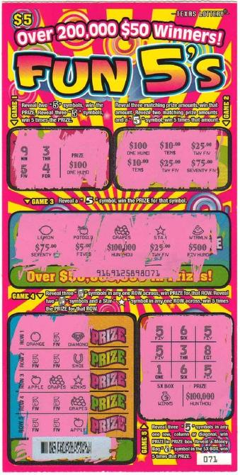 Lottery players sue over 'Fun 5's' scratch-off ticket