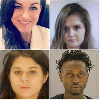 Clockwise from top left: Kendra Hatcher, who was killed in a plot authorities say was orchestrated by her boyfriend's jealous ex-girlfriend, Brenda Delgado, and carried out by gunman Kristopher Love and getaway driver Crystal Cortes.
