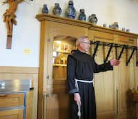 """Father Klaus, the superior, gives cruise passengers the lowdown about the wine- and -beer-making Engleberg monastery which is manned by four monks. """"We are all 70 years and older,"""" says Father Klaus, who once preached in Philadelphia. And """"the oldest document about this place dates from 1406."""" He continued: """"Every service here is packed with people."""" And """"people are also hungry for their stomachs"""" so in 1916 a tavern was founded here."""