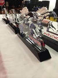 Winners received these trophies in the Irving Marathon.( Photo by IRVING MARATHON  )