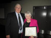 Mary Higbie with her brother, Dennis Helfin, after receiving her award from the Irving Masons at the Irving Heritage Society meeting at the Irving Arts Center.courtesy