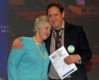 Houston Mayor Annise Parker hugged Lee Hirsch, president of The Bully Project, during the U.S. Conference of Mayors on Saturday in Dallas. The conference runs through Monday.Michael Ainsworth - Staff Photographer