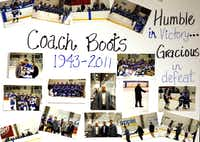 Williams was a math teacher who also coached the school's club hockey team to a state championship. Team members made this poster for him and his family.
