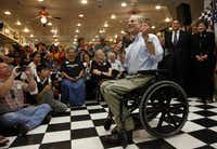 """""""I didn't invent the phrase 'Don't Mess With Texas,' but I have applied it more than anybody else,"""" gubernatorial candidate Greg Abbott told supporters at Ben Franklin Apothecary in Duncanville as he touted his record as Texas attorney general. Abbott worked at the variety store while he was in high school."""