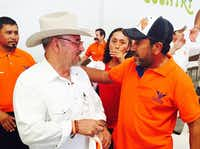 Lime farmer and gang foe Hipolito Mora (left) is running for Mexico's Congress as an independent.(Alfredo Corchado -  Staff )