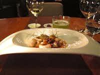 Ciperones (baby squid) in cabrito demi-glace, by Edgar Nunez of Sud 777 in Pedregal, Mexico City.