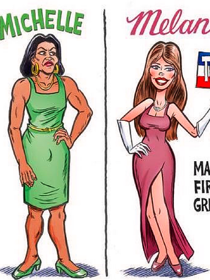 Here's why this Michelle Obama/Melania Trump cartoon is despicable