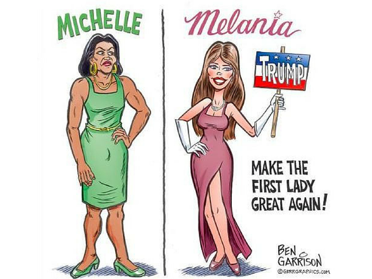 Here S Why This Michelle Obama Melania Trump Cartoon Is