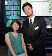 Mika Fujita of Irving with Texas Rangers pitcher Yu Darvish at Texas Rangers Foundation fundraiser in Dallas.