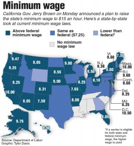California New York Minimum Wages May Bolster Texas Argument - Minimum wage map us