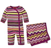 The luxury Italian brand has clothing and accessories for men, women and children featuring its signature chevrons. Among the items for sale at Target today are a blanket and baby union suit (both $24.99).