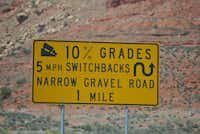 The Moki Dugway's 3 steep (10-percent grade) miles are narrow and gravel covered; the remainder of Utah 261 is paved.