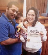 Erick Muñoz, shown holding the couple's son, Mateo, has been asking for his wife, Marlise Muñoz, to be taken off life support since the end of November.