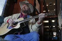 Michael Martin Murphey poses for a photo on his tour bus in Longview December 1, 2011.